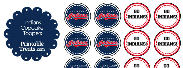 graphic relating to Cleveland Indians Printable Schedule called Cleveland Indians Cupcake Toppers Printable