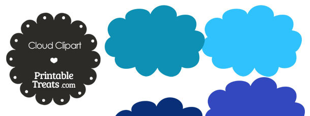 Cloud Clipart in Shades of Blue from PrintableTreats.com