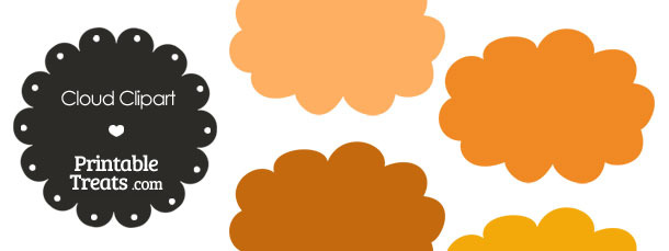 Cloud Clipart in Shades of Orangef from PrintableTreats.com