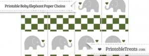 free-dark-olive-green-checker-pattern-baby-elephant-paper-chains-to-print-out