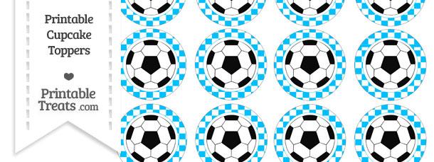 Free Deep Sky Blue Checker Pattern Soccer Ball Cupcake Toppers