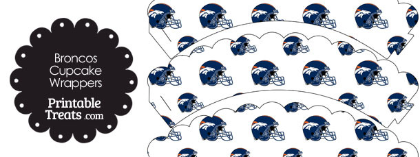 Denver Broncos Football Helmet Scalloped Cupcake Wrappers