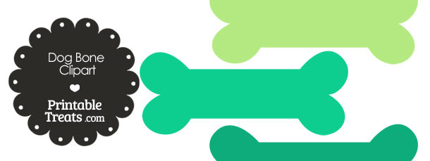 Dog Bone Clipart in Shades of Green from PrintableTreats.com