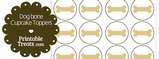 graphic relating to Printable Dog Bone named Pet Bone Cupcake Toppers Printable
