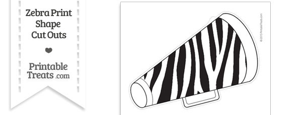 Extra Large Zebra Print Cheer Megaphone Cut Out