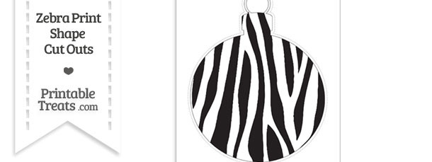 Extra Large Zebra Print Christmas Ornament Cut Out