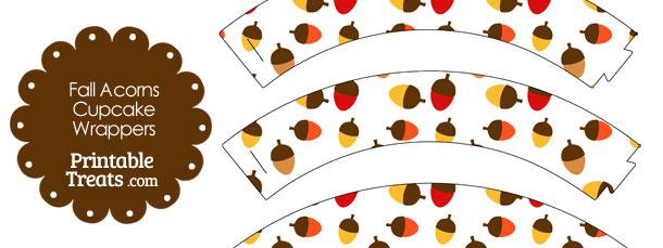 Fall Acorns Cupcake Wrappers
