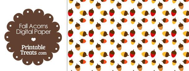 Fall Acorns Digital Scrapbook Paper — Printable Treats.com
