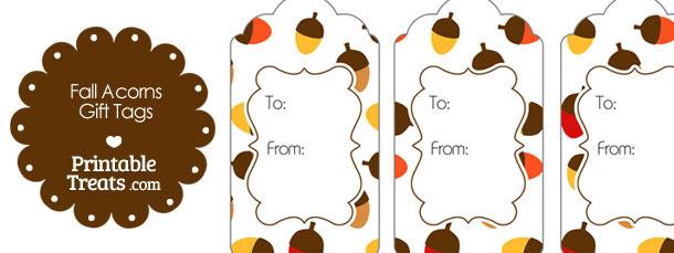 Fall Acorns Gift Tags