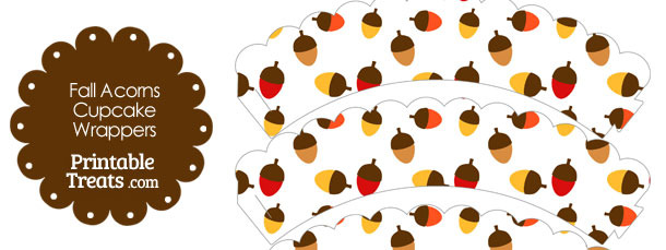 Fall Acorns Scalloped Cupcake Wrappers