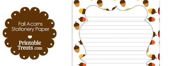 Fall Acorns Stationery Paper