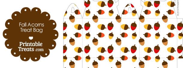 Fall Acorns Treat Bag