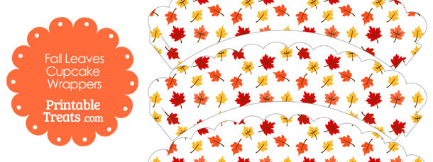 Fall Leaves Scalloped Cupcake Wrappers