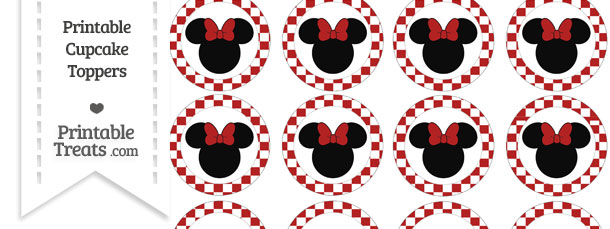 Free Fire Brick Red Checker Pattern Minnie Mouse Cupcake