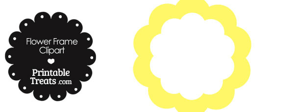 Flower Frame Clipart in Shades of Yellow