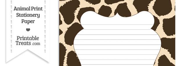 Giraffe Print Stationery Paper