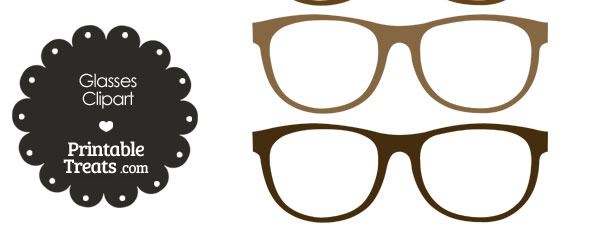 Glasses printable. Clipart in shades of