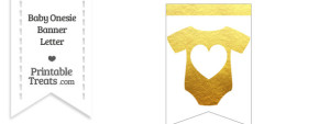 Gold Foil Baby Onesie Bunting Banner Heart End Flag