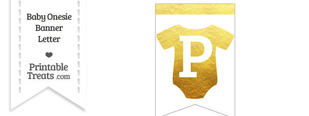 Gold Foil Baby Onesie Bunting Banner Letter P