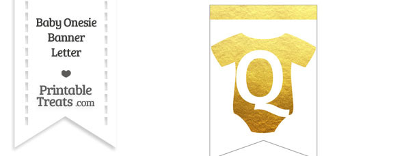 Gold Foil Baby Onesie Bunting Banner Letter Q