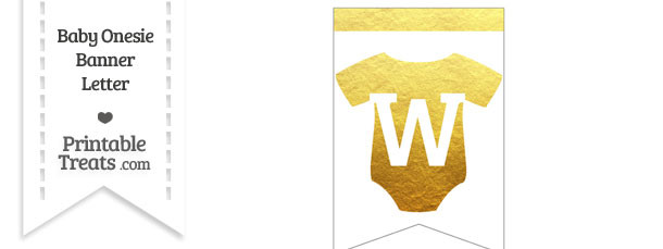 Gold Foil Baby Onesie Bunting Banner Letter W