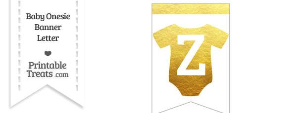 Gold Foil Baby Onesie Bunting Banner Letter Z