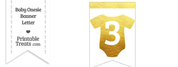 Gold Foil Baby Onesie Bunting Banner Number 3