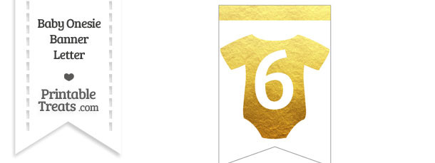 Gold Foil Baby Onesie Bunting Banner Number 6