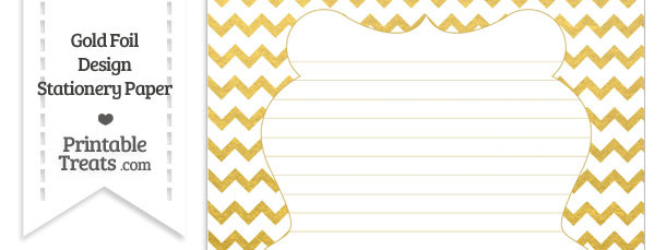Gold Foil Chevron Stationery Paper