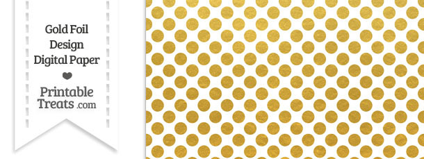 Gold Foil Dots Digital Scrapbook Paper