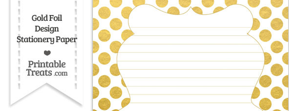 Gold Foil Dots Stationery Paper