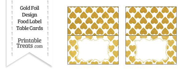 Gold Foil Hearts Food Labels