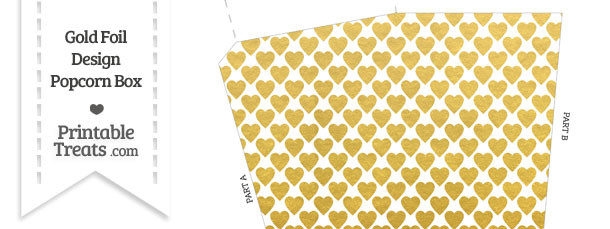 graphic about Printable Gold Foil named Gold Foil Hearts Popcorn Box Printable