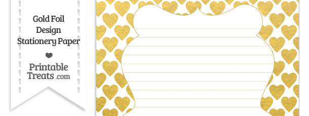Gold Foil Hearts Stationery Paper