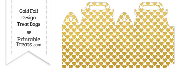 Gold Foil Hearts Treat Bag