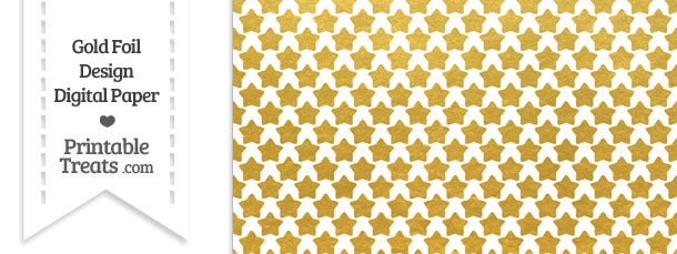 Gold Foil Stars Digital Scrapbook Paper Printable Treats