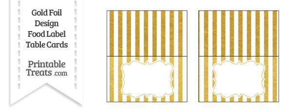Gold Foil Stripes Food Labels