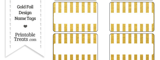 Gold Foil Stripes Name Tags