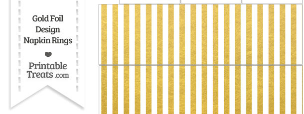 Gold Foil Stripes Napkin Rings