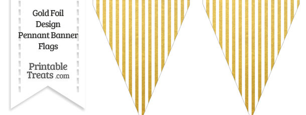 Gold Foil Stripes Pennant Banner Flag
