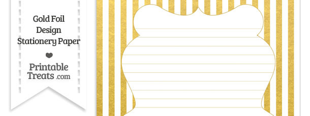 Gold Foil Stripes Stationery Paper