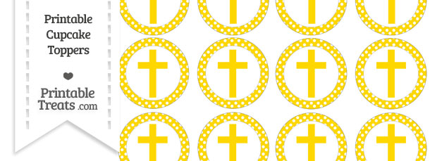 Free Gold Polka Dot Cross Cupcake Toppers Printable
