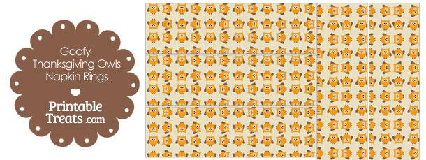Goofy Thanksgiving Owls Napkin Rings