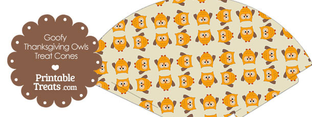 Goofy Thanksgiving Owls Printable Treat Cone