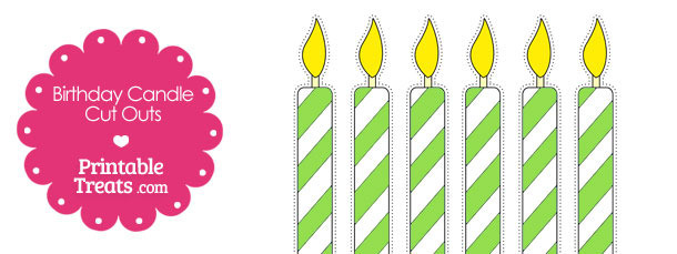 Green and White Birthday Candle Cut Outs from PrintableTreats.com