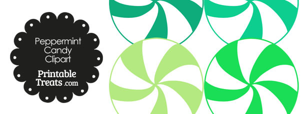 Green and White Peppermint Candy Clipart