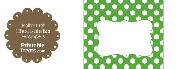 Green and White Polka Dot Chocolate Bar Wrappers