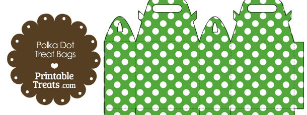 Green and White Polka Dot Treat Bags to Print