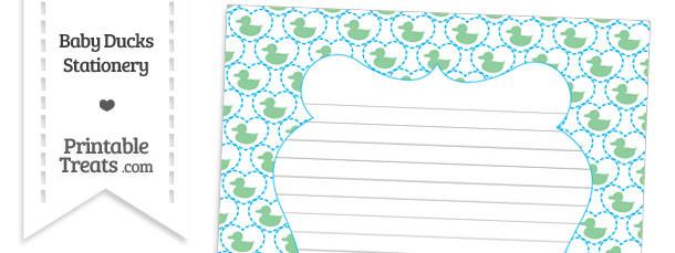 Green Baby Ducks Stationery Paper