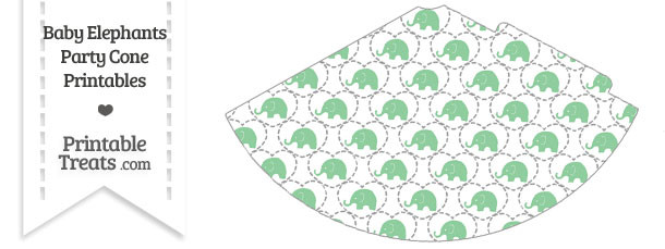 Green Baby Elephants Party Cone